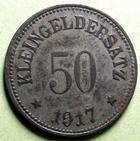 Photo numismatique  Monnaies Allemagne après 1871 Allemagne, Deutschland, Uffenheim  Allemagne, UFFENHEIM, 50 pfennig 1917, Funck.555.3 TTB (vernis, lackiert)