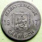 Photo numismatique  Monnaies Allemagne après 1871 Allemagne, Deutschland, Garnisch 50 pfennig notgeld Allemagne, GARNISCH, 50 pfennig 1917, Funck.152.3A Corrosion sinon TTB+ R!