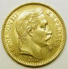 Photo numismatique  Monnaies Monnaies Française en or Second Empire 20 Francs or NAPOLEON III, 20 francs or lauré, 1863 A, G.1062 TTB+