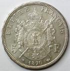 Photo numismatique  Monnaies Monnaies Françaises Second Empire 5 Francs NAPOLEON III, 5 francs lauré 1870 BB Strasbourg, G.739 SUPERBE
