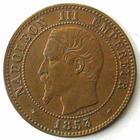 Photo numismatique  Monnaies Monnaies Françaises Second Empire 2 Centimes NAPOLEON III, 2 centimes tête nue 1853 BB Strasbourg, G.103 Néttoyée sinon TTB