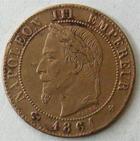 Photo numismatique  Monnaies Monnaies Françaises Second Empire 1 Centime NAPOLEON III, 1 centime lauré 1861 BB Strasbourg, G.87 Néttoyée sinon TTB