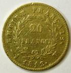 Photo numismatique  Monnaies Monnaies Française en or 1er Empire 20 Francs or NAPOLEON Ier, 20 francs or 1812 M Toulouse, G.1025 Presque TTB