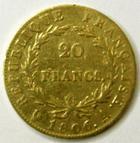 Photo numismatique  Monnaies Monnaies Française en or 1er Empire 20 Francs or NAPOLEON Ier, 20 francs or tête nue, 1806 A, G.1023 TB+