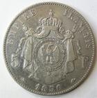 Photo numismatique  Monnaies Monnaies Françaises Second Empire 5 Francs NAPOLEON III, 5 francs tête nue 1856 D Lyon, G.734 Néttoyée TB
