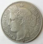 Photo numismatique  Monnaies Monnaies Françaises Défense nationale 5 Francs 5 francs Cérès 1871 K Bordeaux, sans légende, G.742 TB+