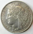 Photo numismatique  Monnaies Monnaies Françaises Deuxième République 5 Francs 5 francs Cérès 1851 A, G.719 petits coups sinon TTB