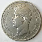 Photo numismatique  Monnaies Monnaies Fran�aises Charles X 5 Francs CHARLES X, 5 francs 1829 H La Rochelle, G.644 TB � TTB