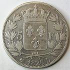 Photo numismatique  Monnaies Monnaies Fran�aises Charles X 5 Francs CHARLES X, 5 francs 1826 L Bayonne, G.643 TB+