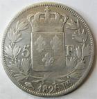 Photo numismatique  Monnaies Monnaies Françaises Charles X 5 Francs CHARLES X, 5 francs 1826 BB Strasbourg, G.643 Néttoyée TB R!