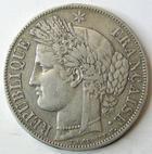 Photo numismatique  Monnaies Monnaies Françaises Deuxième République 5 Francs 5 francs Cérès 1850 BB Strasbourg, G.719 TTB