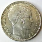 Photo numismatique  Monnaies Monnaies Fran�aises Troisi�me R�publique 20 Francs 20 Francs Turin 1938, G.852 petites traces sinon SUPERBE + avec son brillant d'origine!!