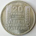 Photo numismatique  Monnaies Monnaies Françaises Troisième République 20 Francs 20 Francs Turin 1938, G.852 petites traces sinon SUPERBE + avec son brillant d'origine!!