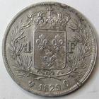Photo numismatique  Monnaies Monnaies Fran�aises Charles X 1 Franc CHARLES X, 1 franc 1829 Q Perpignan, 13334 exemplaires! G.450 petits coups et stries sinon TTB+ Rare!!
