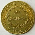 Photo numismatique  Monnaies Monnaies Française en or 1er Empire 20 Francs or NAPOLEON Ier, 20 francs or AN 13 A, G.1022 TTB
