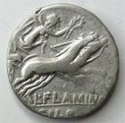 Photo numismatique  Monnaies République Romaine 108 av Jc Denier, denar, denario, denarius L.FLAMINIUS CHILO, Denier 109/108 avant Jc, tête casquée de Rome, bige à droite, 3.68 grammes, RSC.Flaminia 1, Presque TTB