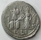 Photo numismatique  Monnaies République Romaine Furia 119 avant Jc Denier, denar, denario, denarius M.FURIUS Lf.PHILUS, Denier 119 avant Jc, tête de Janus, Rome debout en face d'un trophée, 3.56 grammes, RSC.Furia 18 TB à TTB