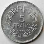 Photo numismatique  Monnaies Monnaies Françaises 4ème république 5 Francs 5 francs Lavrillier aluminium, 1947, G.766a SUPERBE