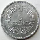 Photo numismatique  Monnaies Monnaies Françaises Gouvernement Provisoire 5 Francs 5 francs Lavrillier aluminium, 1945, G.766 SUPERBE+