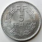 Photo numismatique  Monnaies Monnaies Françaises 4ème république 5 Francs 5 francs Lavrillier aluminium, 1947, G.766a SUPERBE+
