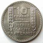 Photo numismatique  Monnaies Monnaies Françaises Gouvernement Provisoire 10 Francs 10 francs Turin, 1945 rameaux court, G.810a SUPERBE+ R!
