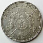 Photo numismatique  Monnaies Monnaies Françaises Second Empire 5 Francs NAPOLEON III, 5 francs 1868 BB Strasbourg, G.739 Bon TTB