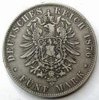 Photo numismatique  Monnaies Monnaies étrangères Allemagne Bayern (Bavière) 5 Mark Allemagne, Deutschland, Bayern, Bavière, 5 mark 1876, Ludwig II, KM.502 TTB