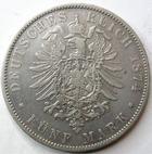 Photo numismatique  Monnaies Monnaies étrangères Allemagne Bayern (Bavière) 5 Mark Allemagne, Deutschland, Bayern, Bavière, 5 mark 1874 D, Ludwig II, KM.502 TTB