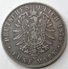 Photo numismatique  Monnaies Monnaies étrangères Allemagne Bayern (Bavière) 5 Mark Allemagne, Deutschland, Bayern, Bavière, 5 mark 1876, Ludwig II, KM.502 Néttoyée sinon TTB