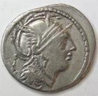 Photo numismatique  Monnaies République Romaine Servilia 100 avant Jc Denier, denar, denario, denarius M.SERVILIUS, Denier 100 avant Jc, tête casquée de Rome, deux cavaliers au combat, 3.86 grammes, RSC.Servilia 8 TTB
