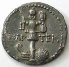 Photo numismatique  Monnaies République Romaine Marcus Antonius 37 avant Jc Denier, denar, denario, denarius MARCUS ANTONIUS, MARC ANTOINE, denier 37 avant Jc, IMP TER, variante ANT.., 3.39 grms, RSC.17a corrosion sinon TTB/TTB+ Rare!!