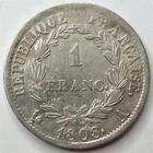 Photo numismatique  Monnaies Monnaies Françaises 1er Empire 1 Franc NAPOLEON Ier, 1 franc 1808 A Paris, G.446 Beau brillant, Bon TTB