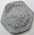 Photo numismatique  Monnaies Monnaies de nécéssité Chalons sur Saone 10 Centimes CHALONS SUR SAONE, Union coopérative, 10 centimes, frappe décalée, E.110.2 TTB+