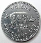 Photo numismatique  Monnaies Monnaies de nécéssité Chalons, Tournus, Chagny 10 Centimes CHALONS, TOURNUS, CHAGNY, Felix Potain, Bouillin, 10 centimes, valeur en marchandise, E.10.2 SUPERBE