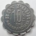 Photo numismatique  Monnaies Monnaies de nécéssité Chalons sur Saone 10 Centimes CHALONS SUR SAONE, Epicerie, Graineterie Gontier, 10 centimes en marchandises, E.130.2 TTB+