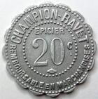 Photo numismatique  Monnaies Monnaies de nécéssité Chalons sur Saone 20 Centimes CHALONS SUR SAONE, CHAMPION RAVET Epicier, 20 centimes, E.125.1 TTB+