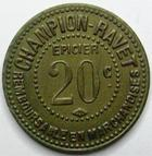 Photo numismatique  Monnaies Monnaies de nécéssité Chalons sur Saone 20 Centimes CHALONS SUR SAONE, CHAMPION RAVET épicier, 20 centimes en laiton, E.125.2 SUPERBE
