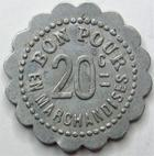 Photo numismatique  Monnaies Monnaies de nécéssité Chalons sur Saone 20 Centimes CHALONS SUR SAONE, Laiterie St Georges, bon pour 20 centimes en marchandises, E.140.3 TTB+