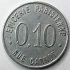 Photo numismatique  Monnaies Monnaies de nécéssité Montceau les mines 10 Centimes MONTCEAU LES MINES, Epicerie parisienne, Cinéma Pathé, 10 centimes, E.15.1 TTB