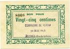 Photo numismatique  Billets Billets de la 1ère guerre mondiale Numismatique des mines Compagnie de Ferfay AUCHEL, Compagnie de Ferfay, 25 centimes, 20 Mai 1915, P.62.16 Q.NEUF