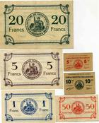 Photo numismatique  Billets Billets des camps de prisonniers Camp de concentration de Garaison Billet et carton GARAISON, Camp de concentration, lot de 6 billets et cartons, dont 1 franc