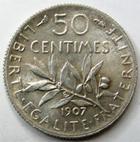 Photo numismatique  Monnaies Monnaies Françaises Troisième République 50 Centimes 50 centimes Semeuse de Roty 1907, G.420 TTB à SUPERBE