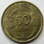 Photo numismatique  Monnaies Monnaies Françaises Troisième République 50 Centimes 50 centimes Morlon 1939 B Bruxelles, G.423 TB à TTB