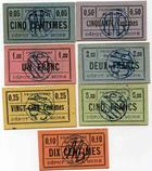 Photo numismatique  Billets Billets des camps de prisonniers Dépot de prisonniers de guerre de La Mure Billet et carton DEPOT DE PRISONNIERS DE GUERRE DE LA MURE, 7 cartons différents, SUPERBE