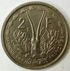 Photo numismatique  Monnaies Anciennes colonies Françaises Afrique Occidentale 2 francs