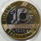 Photo numismatique  Monnaies Monnaies Françaises Cinquième république 10 Francs 10 francs genie de la Bastille 1998, G.827