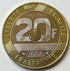 Photo numismatique  Monnaies Monnaies Françaises Cinquième république 20 Francs 20 francs Mont Saint Michel 2000, G.871 SUPERBE à FDC