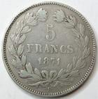 Photo numismatique  Monnaies Monnaies Françaises Défense nationale 5 Francs 5 Francs Cérès 1871 K Bordeaux, G.742 TB+