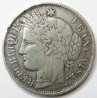 Photo numismatique  Monnaies Monnaies Françaises Défense nationale 5 Francs 5 francs Cérès 1870 K Bordeaux, E.A OUDINE, G.742 TB+