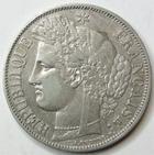 Photo numismatique  Monnaies Monnaies Fran�aises Deuxi�me R�publique 5 Francs 5 francs C�r�s 1850 BB Strasbourg, G.719 Traces de n�ttoyage sinon TB � TTB